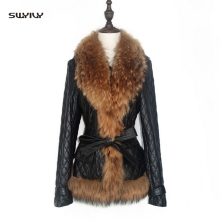 SWYIVY Faux Fur Coat Autumn Winter Women Leather Casual  Slim Fox Jacket Feminine