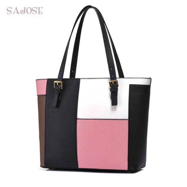 c021c544e405 Women Tote Bag Fashion Simple Hit Color PU Leather Handbag Lady Business OL Big  Shoulder For Women s Female Stitching Bag SAJOSE