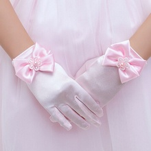 1 пара эластичные шелковые атласы вечерние аксессуары короткие перчатки короткий пункт леди перчатки для принцессы Детское платье аксессуары