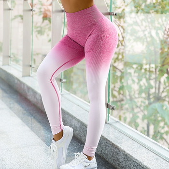 Sport Yoga Gradient color energy Legging Women Workout Fitness Jogging Running Pants Gym Tights Stretch Sportswear Yoga Leggings 2