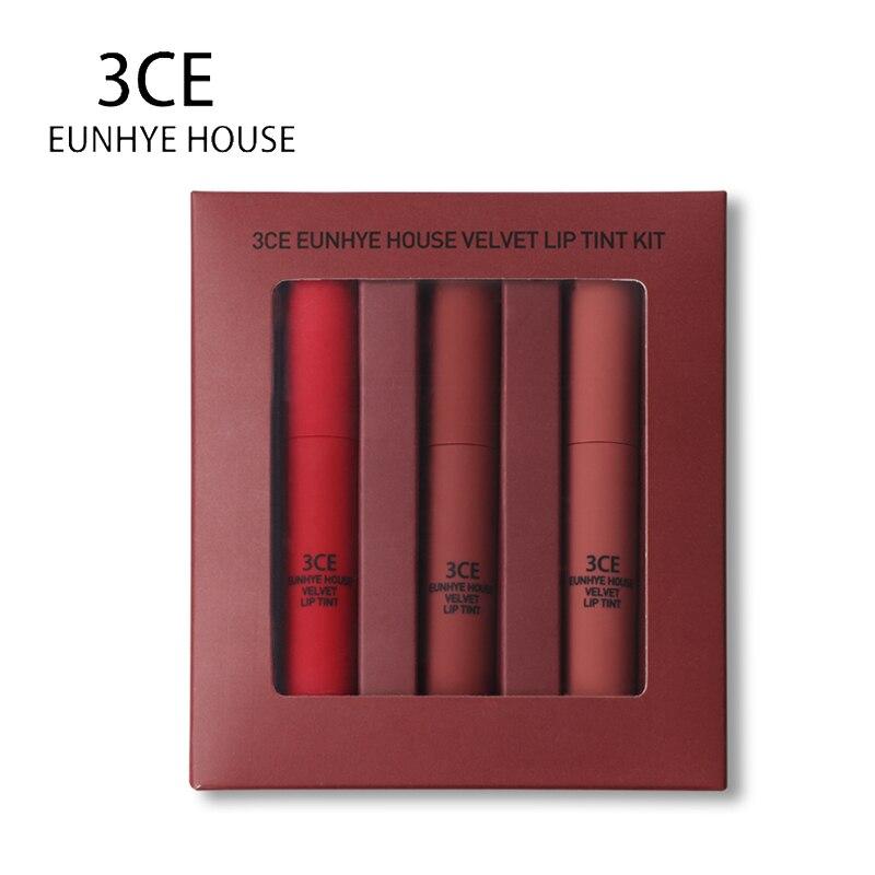 3ce Eunhye Casa Rossetti Liquido Opaco Rossetto di Trucco Matte Lip Gloss Set Liquido Facile da Indossare Lunga Durata Batom 3 colore In 1