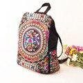 Tendência nacional saco de lona bordados Étnicos mulheres mochila flor artesanal Bordado Saco de Sacos de Viagem mochila mochilas mochila