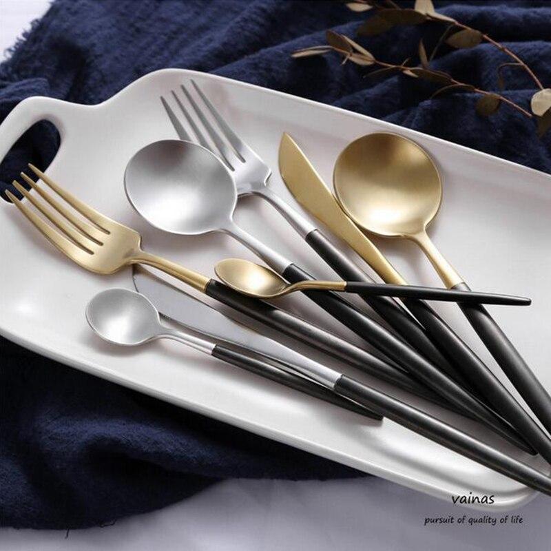 Hot Sale 304 Stainless Steel Cutlery <font><b>Dinnerware</b></font> <font><b>Set</b></font> Forks <font><b>Knives</b></font> Gold Cutleries 4 Pieces Matte Brushed Black Handle G322