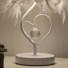 Feimefeiyou Bedside Reading Room Sitting Room Heart Shape Feather Crystal Table Lamp Light with EU plug US UK AU Plug small size