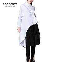 Cheerart Orijinal Kadınlar Düzensiz Hem Yüksek Düşük Gömlek Siyah Beyaz Uzun Kollu Pamuk Bluz Kore Moda Giyim