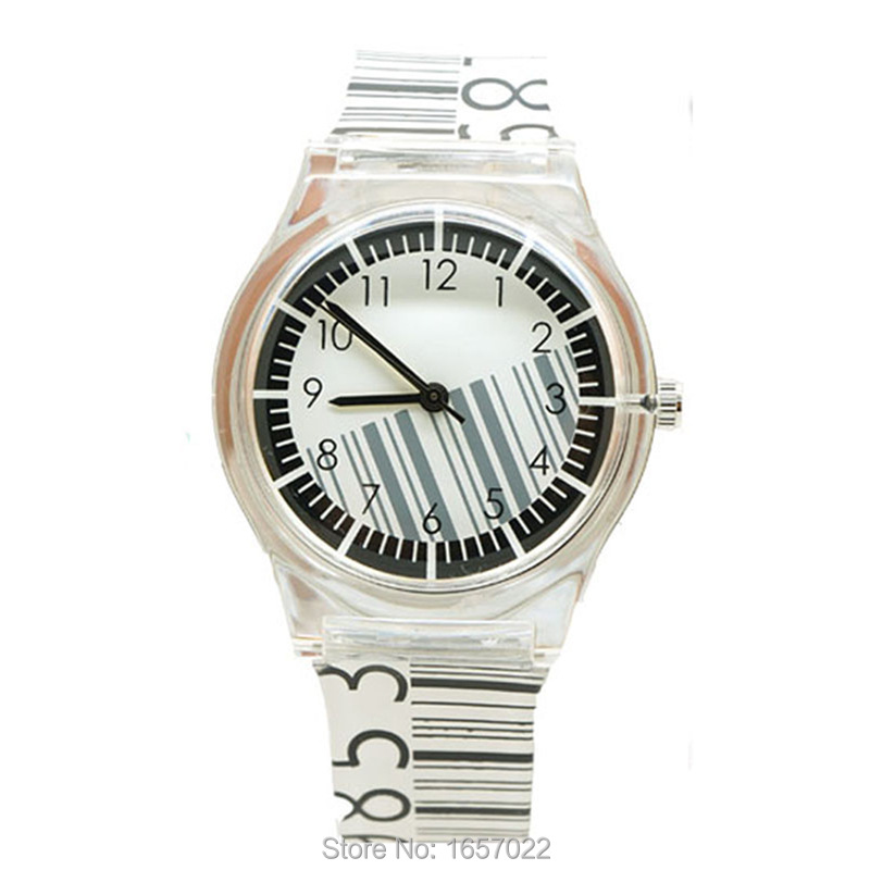 New Arrived Fashion Women Men Barcode Design Special Couple Watch  Promotion Sthudent  Children Plastic Quartz Watch