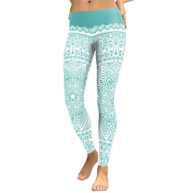 New Arrival Women 2018 High Waist Leggings Aztec Round Ombre Flower Digital Print Fitness Leggins Green Plus Size Workout Pants