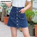 2017 Verão Plus Size Cintura Alta Uma Linha de Saias Jeans Mulheres Roupas Sexy Hip Pacote de Slim Breasted Saias Curtas Calças Jeans Femininas
