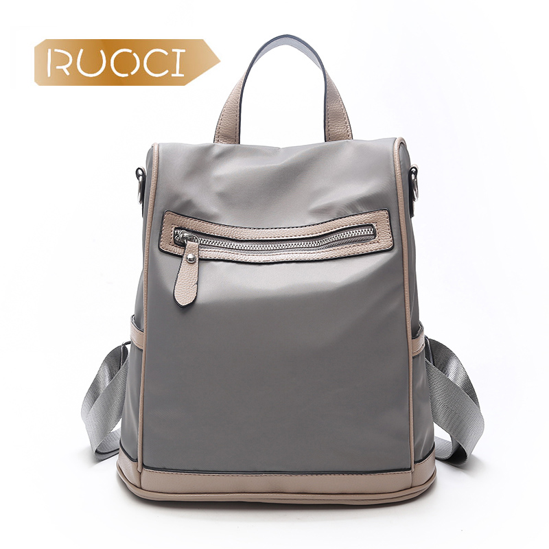 RUOCI Для женщин безопасный Молния сзади рюкзак женский Водонепроницаемый нейлон Оксфорд школьная сумка для девочек Anti Theft плечо сумка для по...