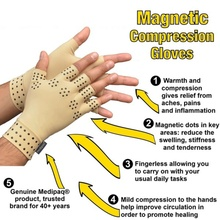 1 Pair Magnetic Therapy Fingerless Gloves Arthritis Pain Relief Heal Joints Braces Support