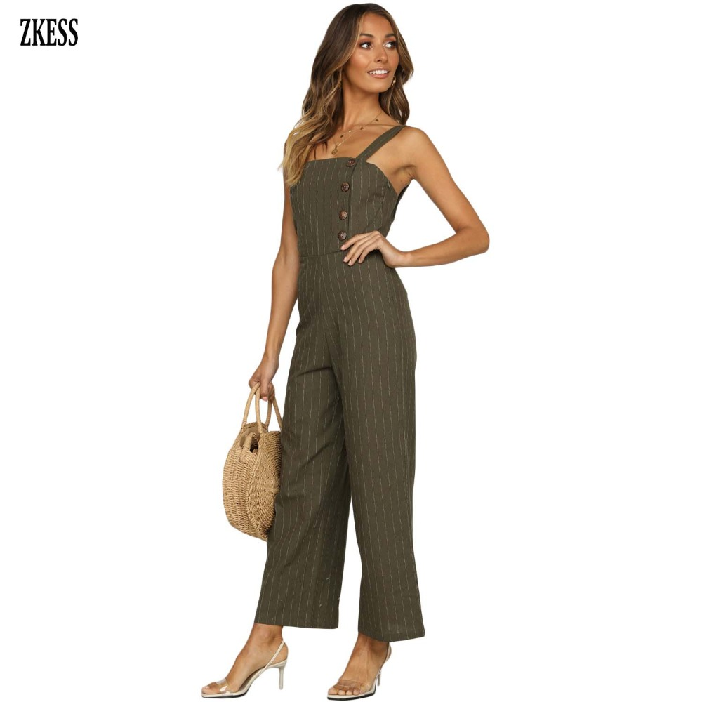 4b8b9eb92bc2 ZKESS Women Black Frankie Striped Button Down Jumpsuit Fashion Casual  Sleeveless Hommock Wide Leg Overalls Playsuits Zip LC64501-in Jumpsuits  from Women s ...