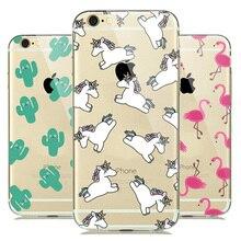 Transparant Unicorn Flamingo Soft Clear Case Cover for fundas iPhone 5s 6 6s 7 8 Plus