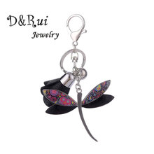 New Enamel Alloy Keychain Leather Rose Flower Dragonfly Key Chain on Keys Fashion Jewelry Accessories Women Keychains for Girls