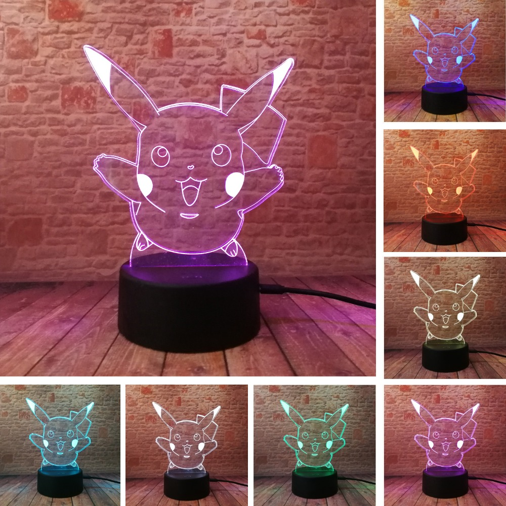 Hot Pokemons Go Game Christmas Xmas Pikachu LED Night Lamp with 7 Colors Change Touch Atmosphere Gifts Lighting Free ShippingHot Pokemons Go Game Christmas Xmas Pikachu LED Night Lamp with 7 Colors Change Touch Atmosphere Gifts Lighting Free Shipping