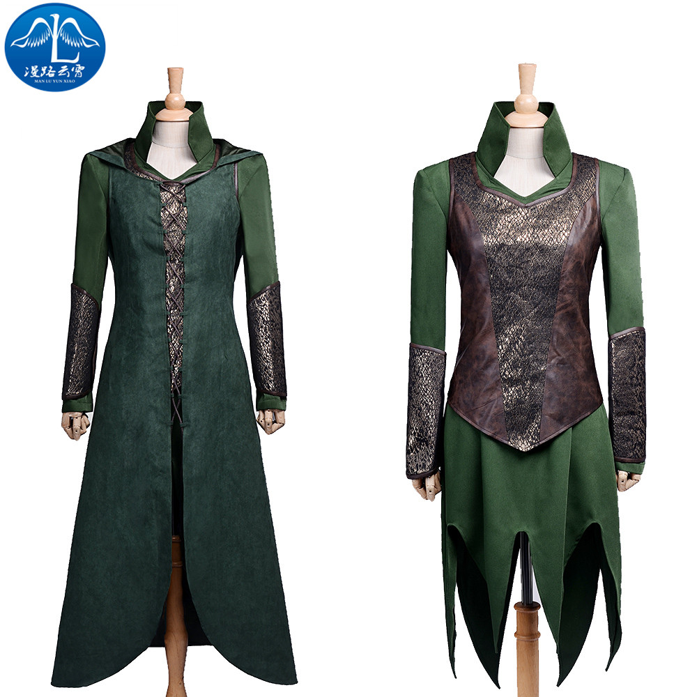 ManLuYunXiao 2017 Cosplay Costume The Hobbit Tauriel Cosplay Green Dress Cosplay Women's Free Shipping Women Basic Custom Made