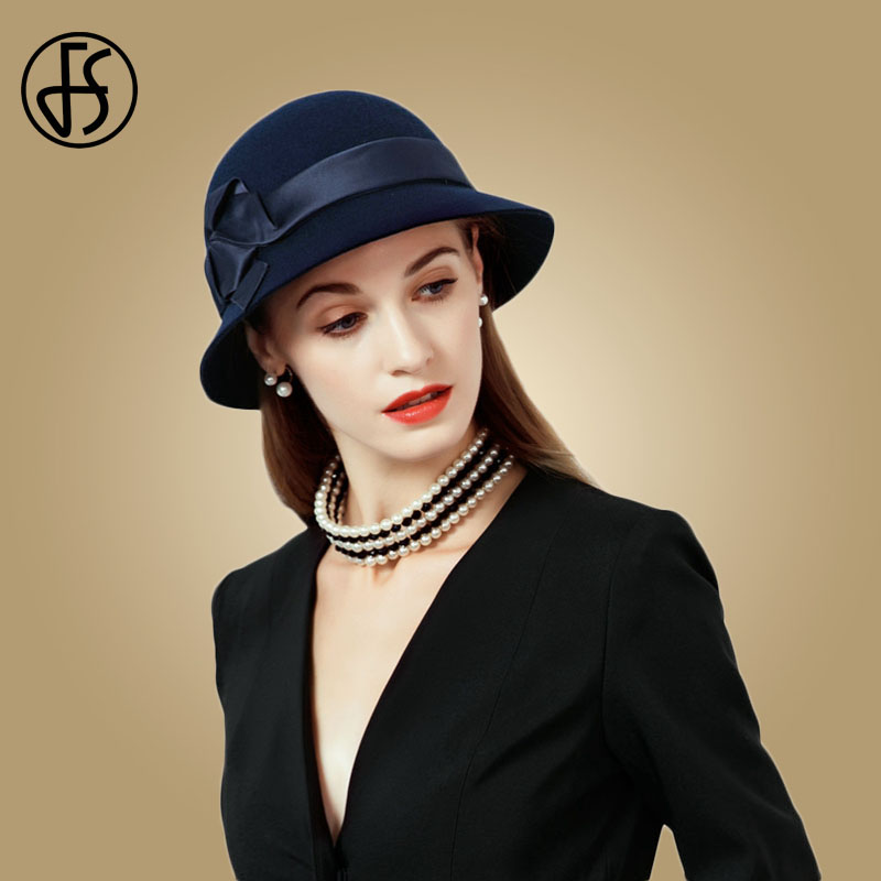 ec4769c9 FS 2019 Navy Blue Wide Brim Fedora Bowler Vintage Wool Felt Hats Black Women  Bowler Flower Cloche Cap Winter Floppy Church Hat