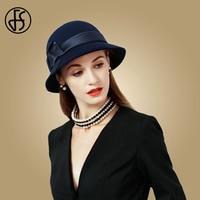 FS 2019 Navy Blue Wide Brim Fedora Bowler Vintage Wool Felt Hats Black Women Bowler Flower Cloche Cap Winter Floppy Church Hat