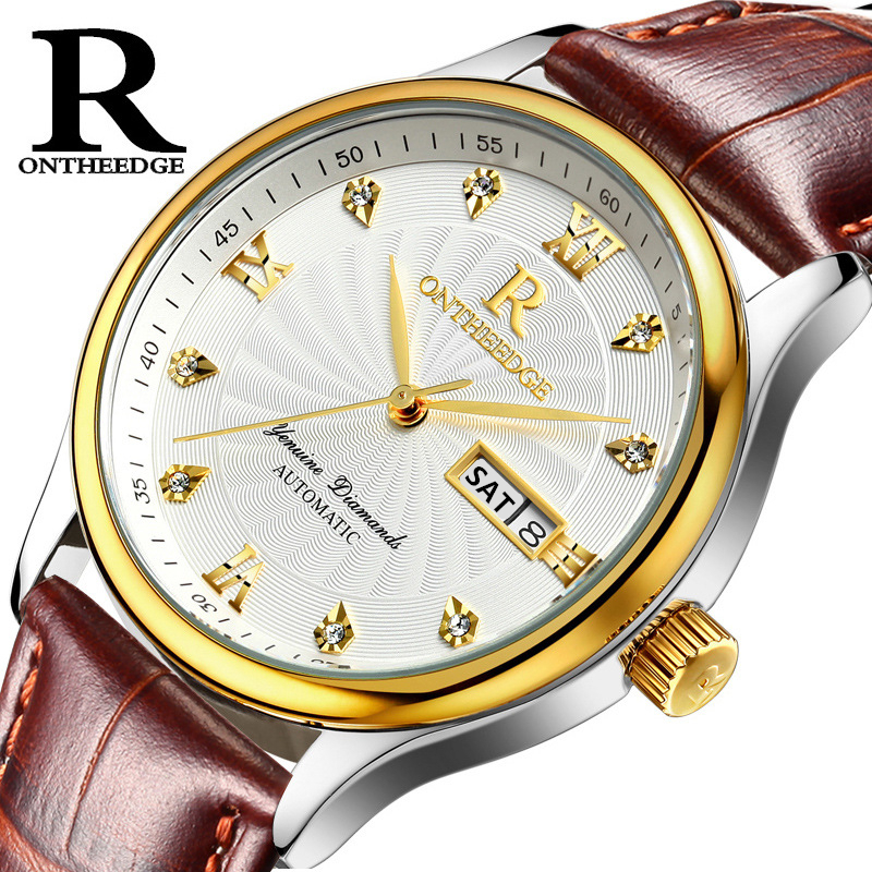 ONTHEEDGE Mens Watches Luxury Casual Waterproof Watch Man Quartz-watch Leather Band Watch Diamonds Relogio Masculino oulm mens designer watches luxury watch male quartz watch 3 small dials leather strap wristwatch relogio masculino