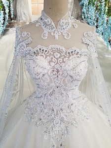 Image 4 - LS00169 Luxury wedding gowns with cape beaded ball gown short sleeves high neckine lace vestido de noiva princesa real photos