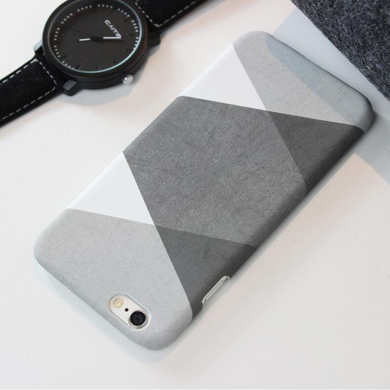 Fashion Personality Black White Grey Geometric Cases For iPhone7 7 Plus Plastic Frosted Shell For iPhone 6 6s Plus Phone Cover
