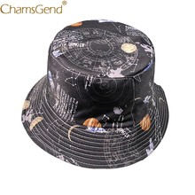 Hot Sale Both Face Useful Planet Print Women Men Bucket Hats 80704Drop Shipping(China)