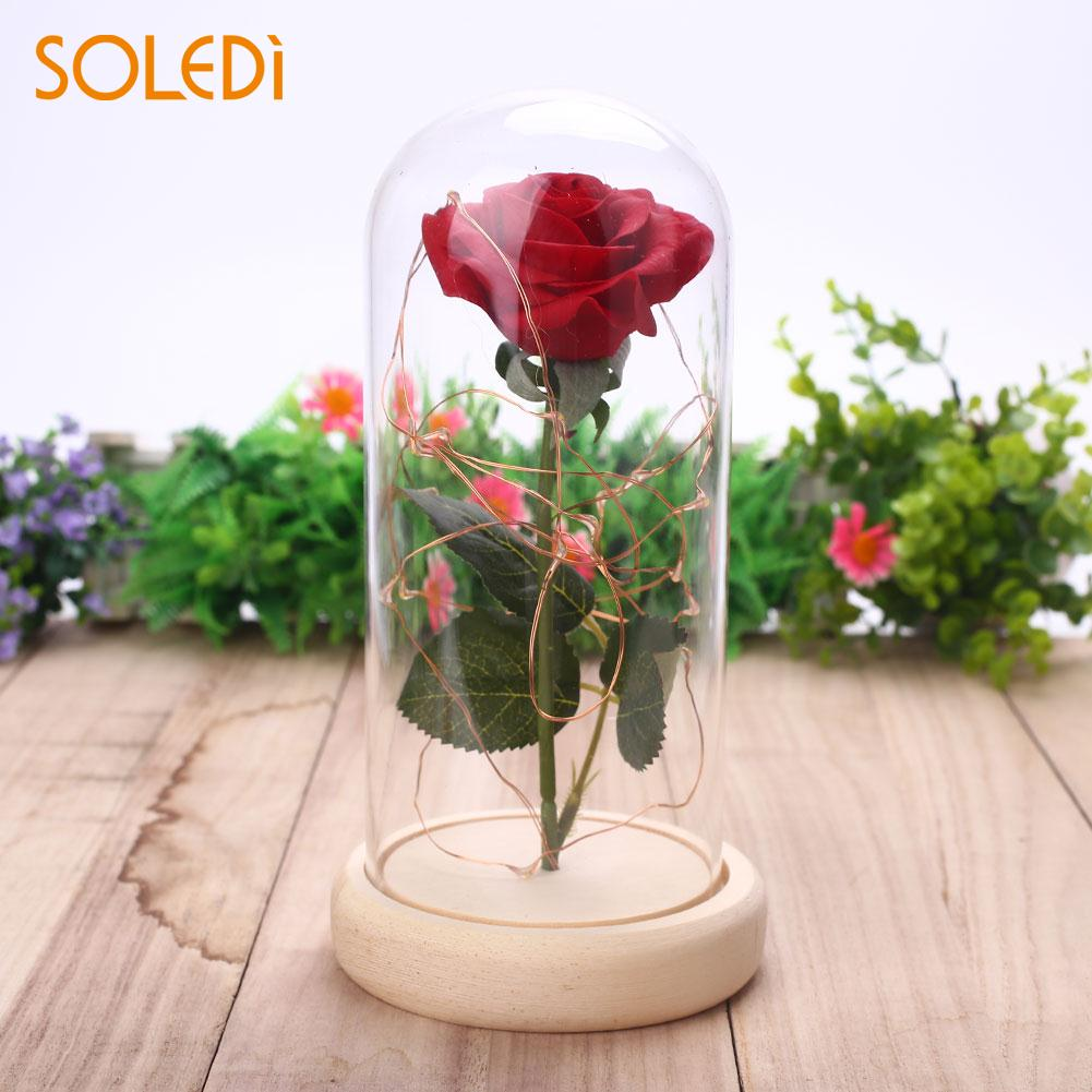 LED Rose Glass Cover Preserved Rose Flowers Glass Cover Fresh Flower Ornament Gift Flashing Decorating Glowing Home Decoration
