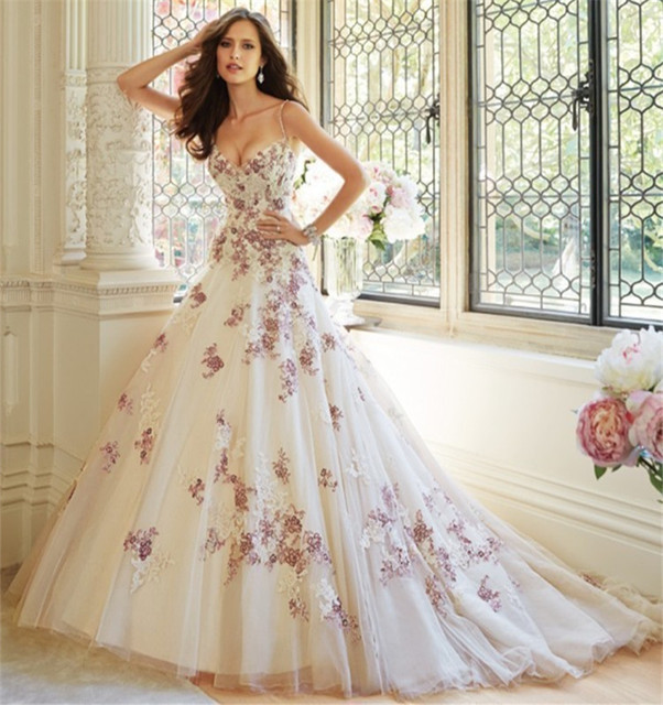 Luxury 2016 new sexy spaghetti straps white purple lace ball gown luxury 2016 new sexy spaghetti straps white purple lace ball gown wedding dress bridal gowns vestido junglespirit Image collections
