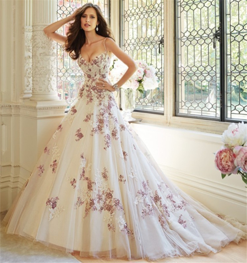 luxury 2016 new sexy spaghetti straps white purple lace ball gown wedding dress bridal gowns vestido