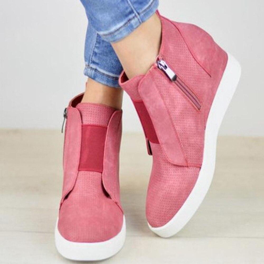 Zapatos Mujer Otoño azul Tacón rosado Mujeres Casual Botas Única Moda Cuña Zipper Negro Con Plataforma Verano Aumento De PwxqU0q1