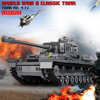 цены 1193+pcs Military Blocks War Tank 3D Model PZKPFW-IV Building Blocks Building Toy Kit Educational Construction Toys For Children