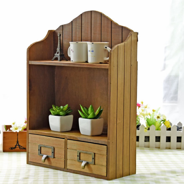 Z Vintage Real Wooden Storage Box Double Cabinet Cosmetic Table Creative Furniture Wall Drawer