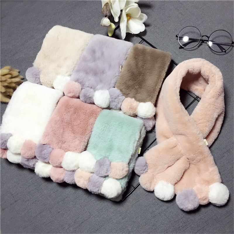 Scarf Pompom Neck-Warmers Rabbit-Fur-Collar Girls Baby Winter Boy with Imitation Cute