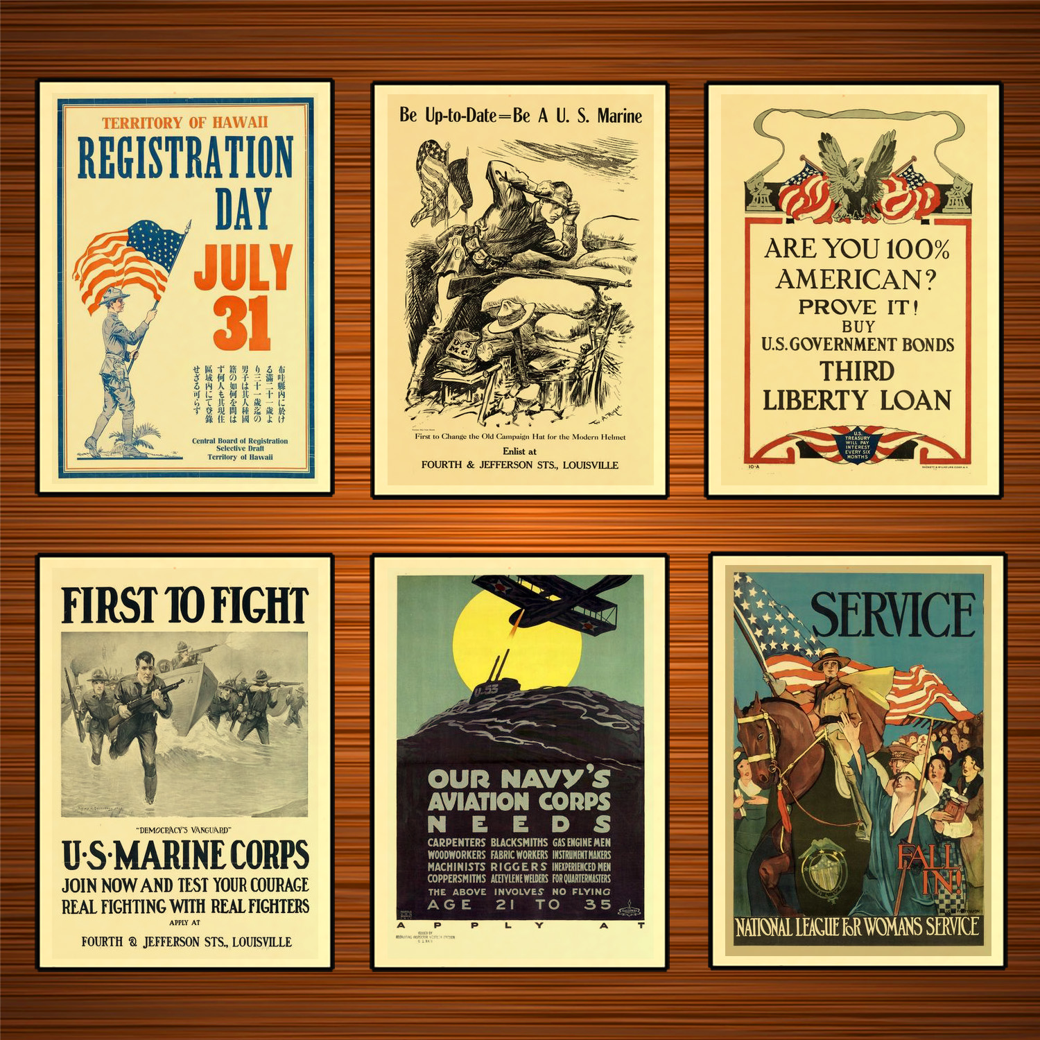 Vintage 1910s USA WW1 Propaganda Poster National League For Women Service Classic Canvas Paintings Wall Stickers Home Decor Gift image