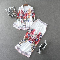 Autumn 2 Piece Set Women S High Quality Long Sleeve Charming Fancy Floral Printed Turn Down