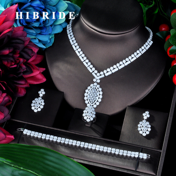 HIBRIDE Luxury Flower Shape Pendant AAA Cubic Zircon Women Jewelry Sets Necklace Sets Dress Accessories Wholesale Price N-948