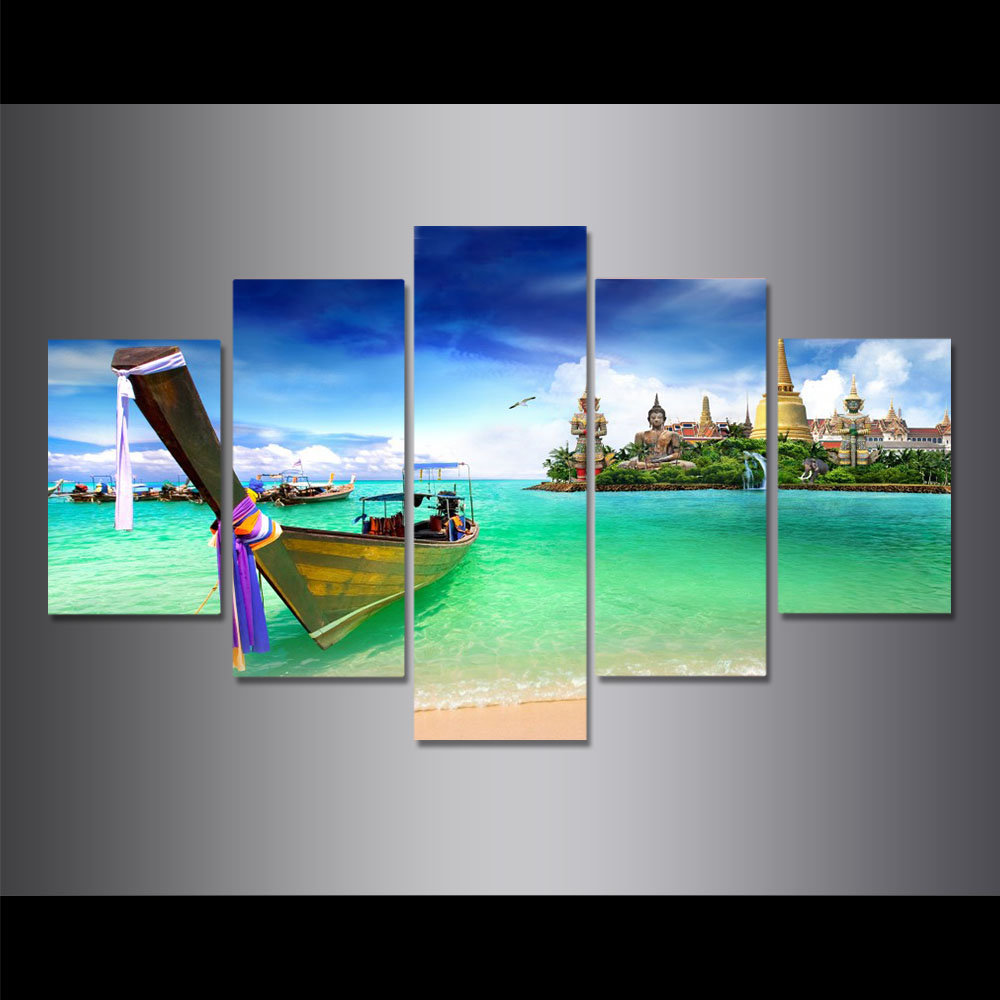 Unframed HD Canvas Prints Phuket Seascape Ferry Buddha Statue Seawater Prints Wall Pictures For Living Room Wall Art Decoration