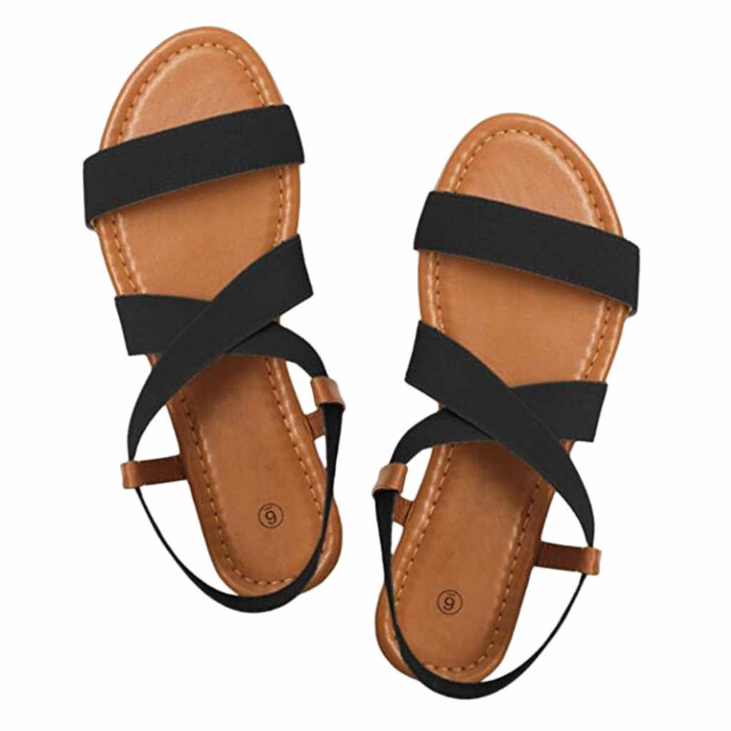 MUQGEW sandalias de Mujer Zapatos de tacón bajo antideslizante zapatos de playa correa cruzada tobillo elástico banda Peep-toe sandalias de goma Mujeres Nuevo
