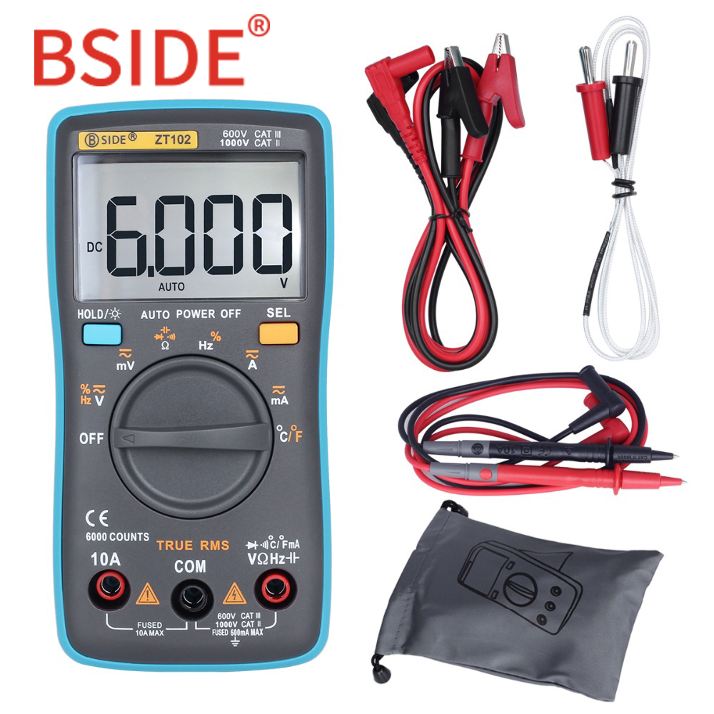 BSIDE ZT102 Ture RMS Multímetro Digital AC/DC Tensión corriente Ohm Temperatura Frecuencia Diodo Resistencia Capacitancia Testers