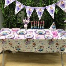 Disney Sofia Straw Horn Forks Birthday Party Supplies Baby Shower Happy Kids Decoration