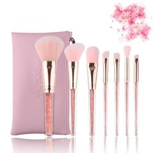 Zoreya Brand 8Pcs Pink Crystal Makeup Brush Set Eye Shadow Flawless Concealer Crease Eyebrow Foundation Brushes Face Brush Tools все цены