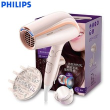 PHILIPS Negative ion hair dryer BHC202 with constant temperature high power machine foldable support hot and cold wind pink household high power hair dryer hot and cold wind constant temperature salon professional hair dryer
