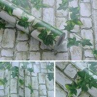 New 45cm 10m 3D Brick Pattern Green Flower Vine Wall Sticker Sofa TV Wall Furniture Renovatio