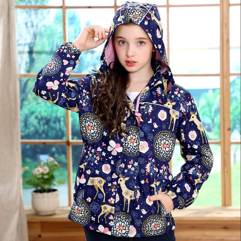 Waterproof Fitted Waist Baby Girls Jackets Warm Floral Animals Printed Child Coat Polar Fleece Children Outerwear 3-12 Years Old