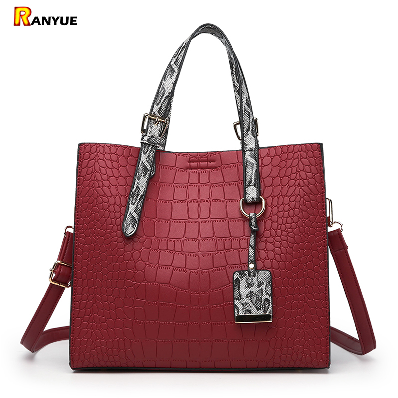 2018 Luxury Serpentine+Crocodile Handbags Women Bags Designer Brand Famous Women  Shoulder Bags High Quality Pu Leather Tote Bag fa241ca34fa92