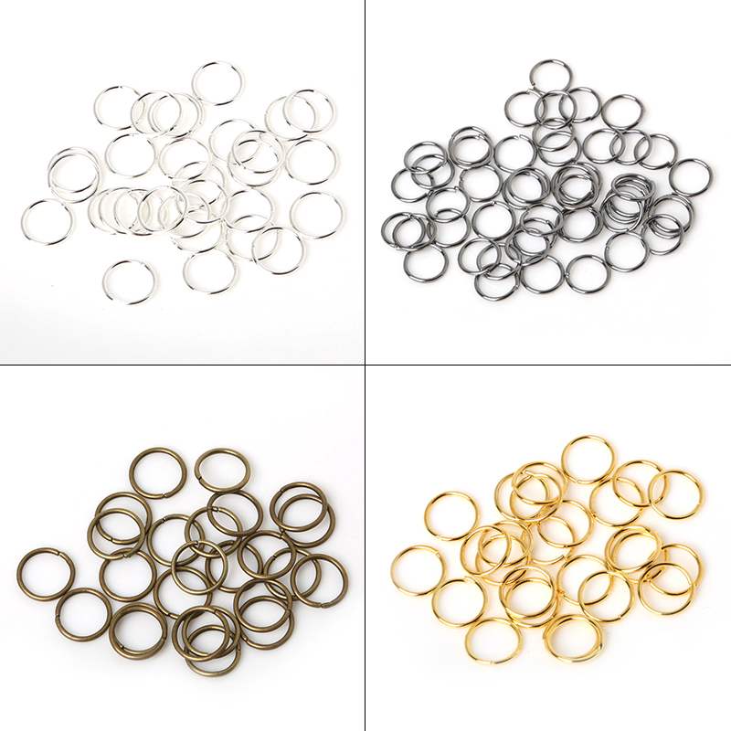 200Pcs/Lot 8mm 10mm Brass/Gun-metal/Gold/Silver/Rhodium Opening Hair Ring Braid Dreadlock Bead Cuff Clip Braid Tool Hoop Circle
