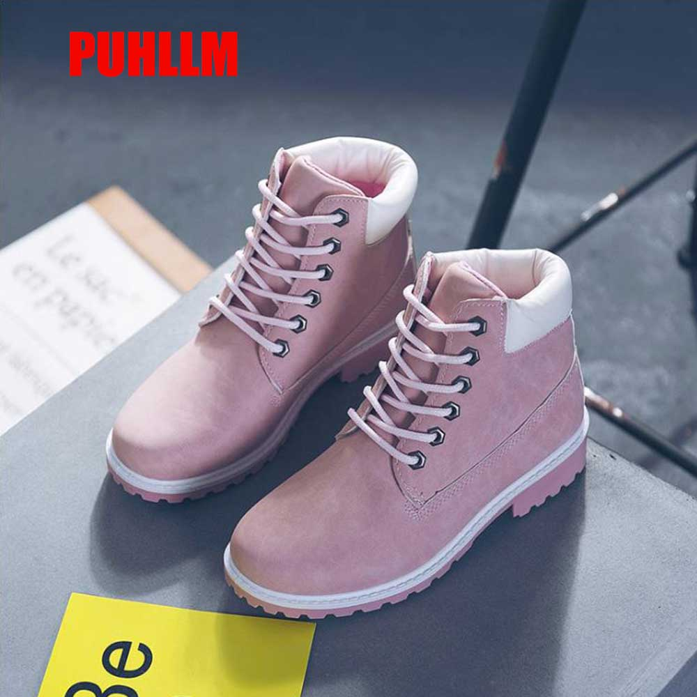 PUHLLM Boots WOmen's Shoes Autumn and Winter Flat Red Martin Boots Leather Boots Couple Short Boot Female Big Head Boots2019 F14