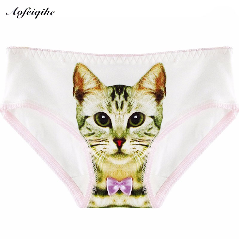 New Hot Sexy Women 's Underwear Cotton Plus Size Underwear Briefs 3D Cat Printing   Panty   Trousers Sexy Lingerie Intimates briefs