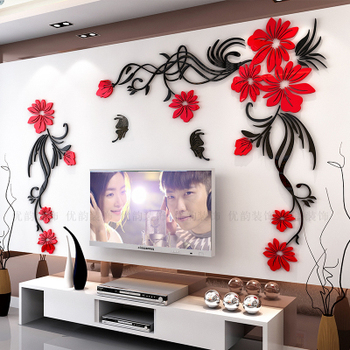 Creative flower 3D stereo acrylic wall sticker background warm decoration Large Size Mural Home Decor Living Room Wall Decals 13