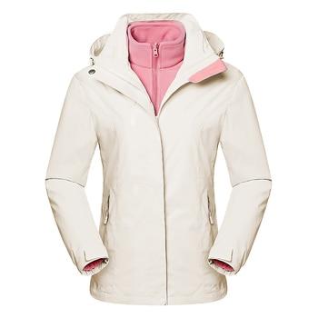 3 in 1 Skiing Hiking Jackets Men Women Waterproof Breathable Coat Trekking Sport Windbreaker Winter Thermal Fleece Ski Suit