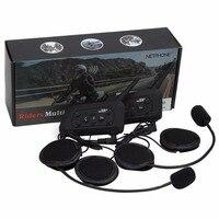 Vnetphone 2pcs V6 1200M Motorcycle Bluetooth 3 0 Helmet Intercom Headset Moto Wireless BT Interphone For